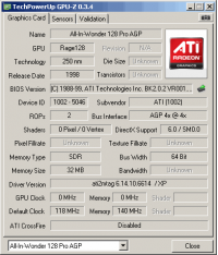 All-In-Wonder 128 Pro GPUZ